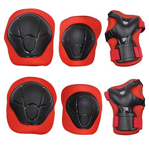 Bambini Kit protezione - Sport Protective Gear per Ginocchia gomiti Polsiere Protettivo Set Per Kids Skateboard / Bmx / Scooter / Bicicletta / Pattini in linea (Rosso)