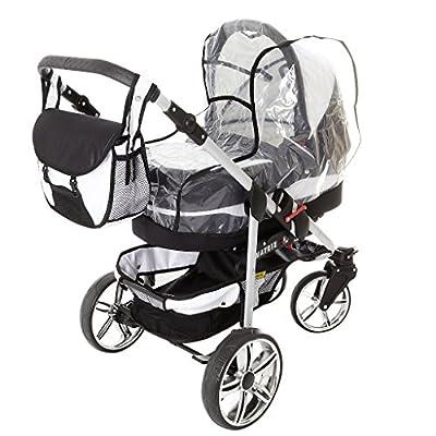 Chilly Kids Matrix II 3 in 1 Cochecito Combinado (asiento del coche incluye adaptadores, cubierta para la lluvia, mosquitero, ruedas giratorias de 62 colores)