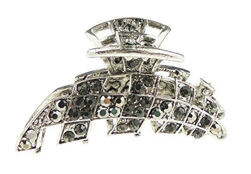 Damen Vintage Look Metall mit Kristall 6cm Haar Haarkralle Criss Cross