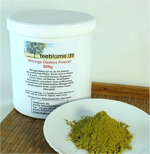 Moringa Oleifera, seco Hoja finamente en Polvo, 500g, puro