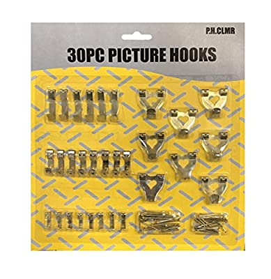 30 PC PICTURE FRAME HANGING KIT -Canvas, Clocks WALL HOOKS, Screw Eyes, Nails. Drywall or Plasterboard, FREE Mobile Eraser - inexpensive UK light shop.