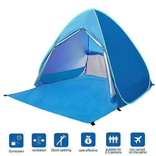 Eplze Strandzelt, Extra Leicht Automatik Strandmuschel mit Boden Sonnenschutz UV-Schutz, Familie Tragbares Strand-Zelt Outdoor Beach Tent Tragbar (Blau)