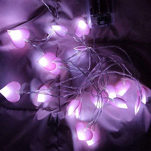 LED-Lichterkette mit Herz-Motiv, batteriebetrieben, für Hochzeiten, Valentinstag, Party, Weihnachten, Festivals, Schlafzimmer, Geburtstag, Gartendekoration, violett, 5 m, 50 LEDs Violett-motiv