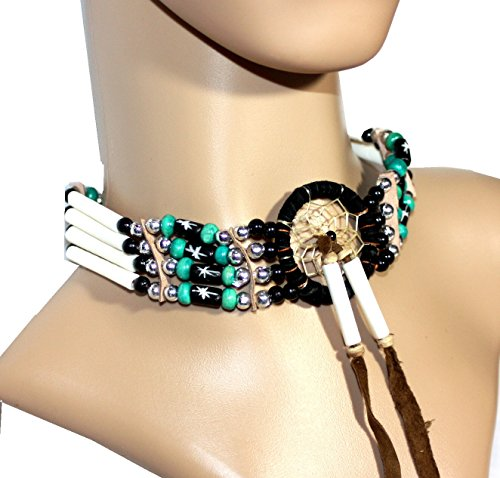 CHOKER Massiv EDEL mit Traumfänger echte Knochenröhrchen Perlen BONE Hairpipes Dreamcatcher Türkis Grün-Schwarz (Perlen Indianer Collier)