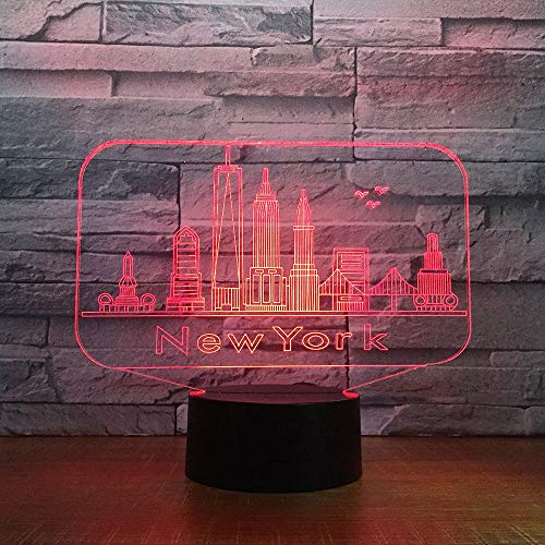 New York City Gebäude 3D Nachtlicht Bunte LED Atmosphäre Schlafzimmer Tischlampe Schöne 7 Farbwechsel 3D USB LED Nachtlicht (Halloween New Club York Party)