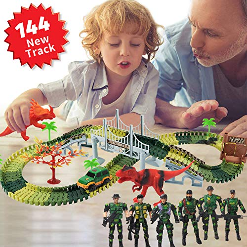 ACTRINIC 144 Dinosarier Spielzeug Rennenbahn Jurassische Welt mit 3 Dinosarier,1 Militäre Wagen,5 Bäume,6 Soldaten, 2Pisten, 1 Doppeltür und 1 Hängebrücke.Perfektes Geschenk für Junge und Mädchen