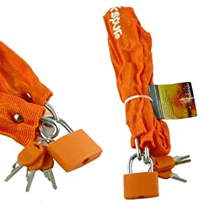 SECURITY CHAIN AND PADLOCK - 850 x 4.5MM - COMES COMPLETE WITH 3 KEYS (ORANGE)
