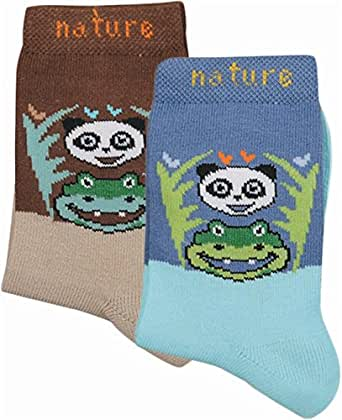 2 Paar Kinder Söckchen mit Panda Motiv aus zertifizierter Bio Baumwolle Farbe für Jungen Größe 27-30