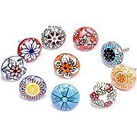 Confezione da 10pomelli, in stile vintage, motivo floreale, in ceramica, per porta, armadio, cassetto e credenza