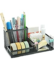 StandyZone 3 Compartments Metal Mesh Desk Storage Organizer Stationery, Pen, Marker Holder Stand for Home and Office