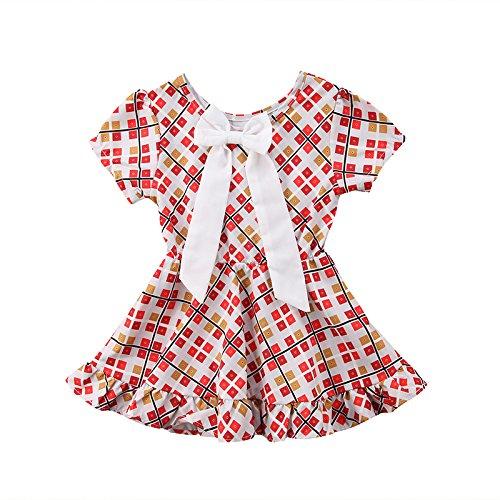Zxcvbn toddler kid baby girl floral bowknot party pageant tutu dress vestito estivo vestiti per bambini, b, 4t