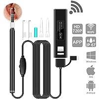 Oreja Endoscope WiFi, HEYSTOP Ear Endoscopio Inalámbrico Cámara de inspección de otoscopio Impermeable Portable HD Borescope con Earpick para iOS y Android Smartphones Windows Mac