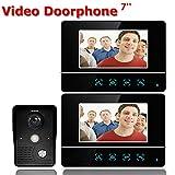 MOLEY 7-Zoll-TFT-Touchscreen Verdrahtete Farbe LCD-Video-Türsprechanlage Video Intercom 2 Monitor Türklingel Intercom-System