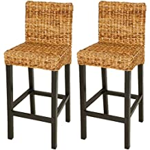 VidaXL Tabouret De Bar 2 Pcs Abaca Marron Ensemble Chaises Haut
