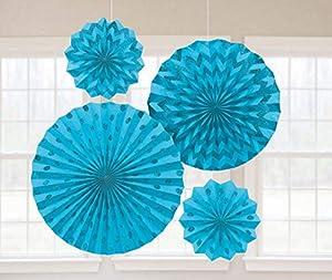 Amscan International-295000-54Caribe azul ventiladores de papel con purpurina