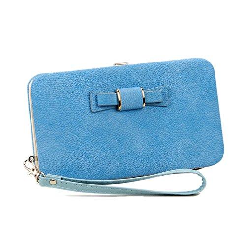 Frauen-Bowknot-Mappen-lange Geldbeutel-Telefon-Karten-Halter-Kupplungs-große Kapazitäts-Tasche Blauer Himmel Blauer Himmel