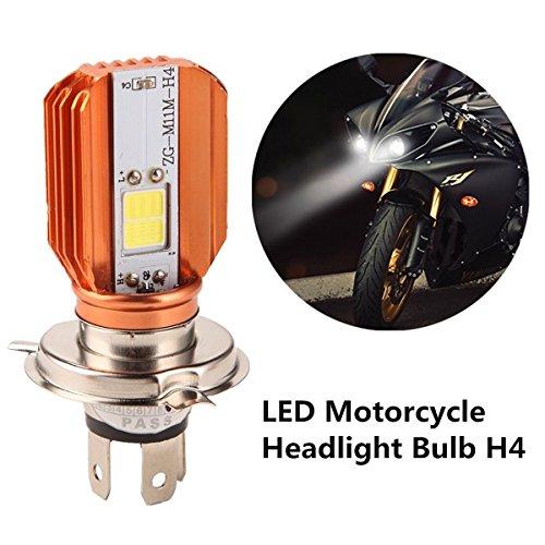 FEZZ Bombilla de Faro Motocicletas H4 Hi/Lo COB LED Lámpara HS1 H6-3 con Ventilador de Refrigeración 20W 2000LM 6500K