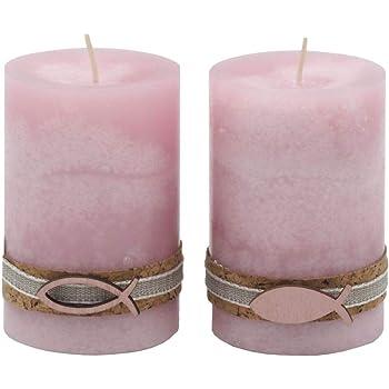 2 Stumpenkerzen Kerzen Rosa Kork Fisch Tischdeko Kerzendeko