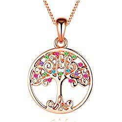 Cadeau Collier Femme Fantaisie Pendentif par Cristal de Swarovski Elements - Cadeau Noël Mariage Saint Valentin (Tree of Life)