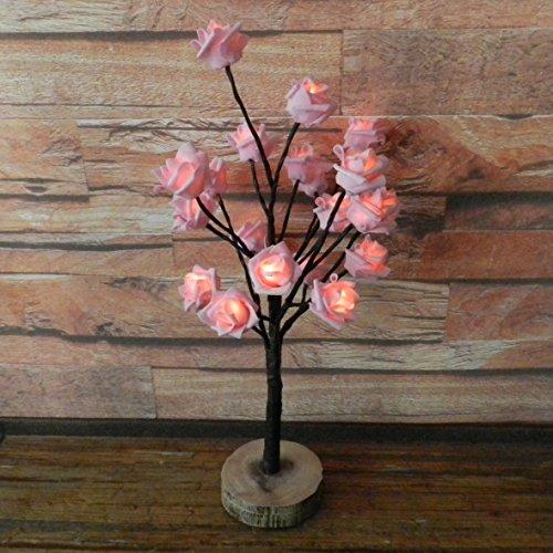 Batteriebetrieben W/Timer Pink Rose Weihnachtsbaum Tabletop LED-Licht beleuchtet, 20 warmweiße LEDs, rustikale Vintage Holz Boden, für Home/Party/Hochzeit/Festival/Dekoration im