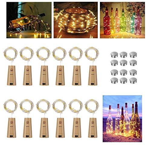 Vicloon Flaschen-Licht Warmweiß, 12 Stück LED Lichterketten 2M 20 LEDs Wein Flasche Lichter Kork Flaschen Lichter Lichterkette für Flasche DIY, Party Hochzeit Stimmung Lichter