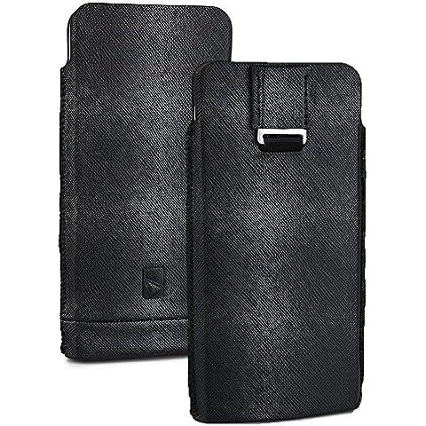 Cooper Cases(TM) Mini Pouch Custodia Universale per Smartphone da 5-5,5 pollici in Nero (Fessure, Linguetta estraibile, Design Armonioso ed Elegante) - Universale Mini Cooper