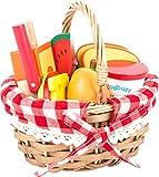 Furtwängler Picknickkorb mit Schneide - Lebensmittel Holz für Kinder 17-teilig eine perfekte Ergänzung zu Kinderküche und Kaufmannsladen