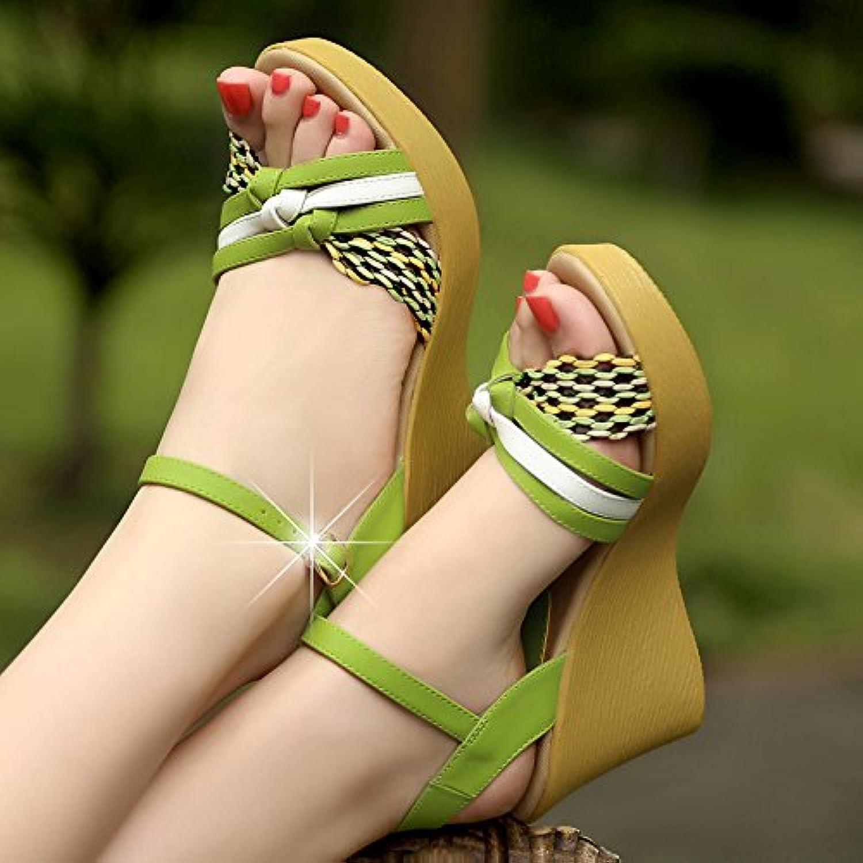 SHOESHAOGE Frauen Schuhe High-Heeled Hang Mit Biskuitteig Dicke Damen Casual Sandalen Weißlich