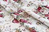 Leinen Lodge Dekostoff Rosen Floral Blumen Baumwolle *** 50 cm x 140 cm ***