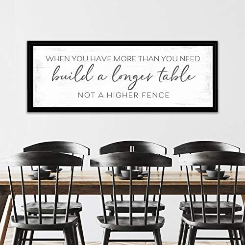 Wood Framed Sign 12x22'' Bible Verse Printable Wooden Prints Build A Longer Table Sign When You Have More Than You Need Build A Longer Table Longer Table Higher Fence Build A Longer Table