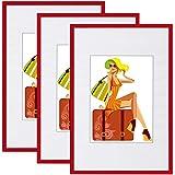 WOLTU BR9895rt-3 Cornice da Parente Set di 3 Pezzi Telaio in Plastica Rosso 30x45cm