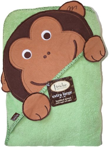 Frenchie Mini Couture Extra Large Hooded Towel, Monkey - XL Kapuzen Badetuch - Affe - aus USA (Monkey Kapuzen-handtuch)
