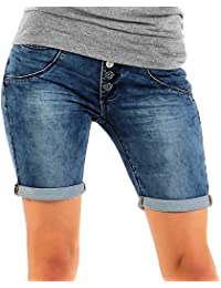 Urban Surface Damen Jogg Jeans Shorts LUS-107 Sweat Bermuda sichtbare Knopfleiste