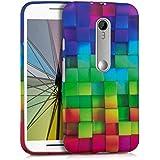 kwmobile FUNDA de TPU silicona para Motorola Moto G (3. Gen) Diseño arco iris dado multicolor verde azul - Estilosa funda de diseño de TPU blando de alta calidad