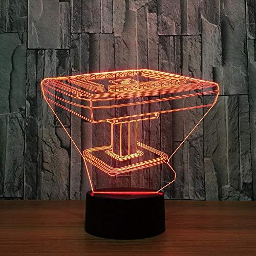 3D Illusion Lampe Mahjong Tisch LED Nachtlicht, USB-Stromversorgung 7 Farben Blinken Berührungsschalter Schlafzimmer Schreibtischlampe für Kinder Weihnachts geschenk - C6 Mit Blauem Led-licht