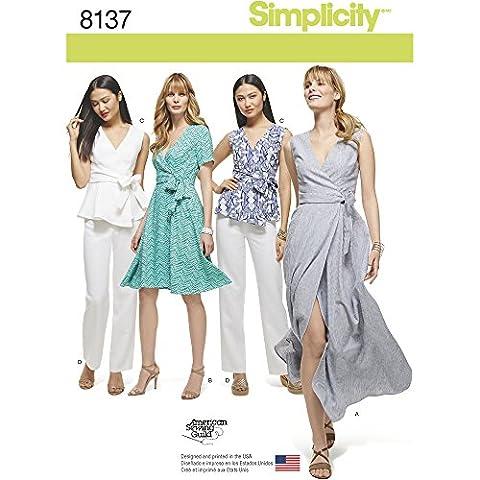 Simplicity 8137robes Taille plus Wrap robes/Top et pantalon, Blanc, Patrons