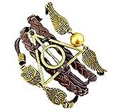 Inception Pro Infinite Bracciale Dell'Amicizia Marrone Harry & Potter Simbolo Triangolo E Cerchio Civetta E Ali