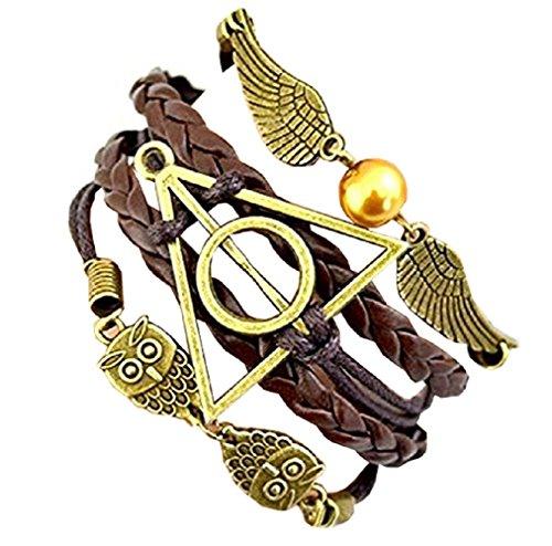 Pulsera de amistad de Brown Harry Potter Símbolo del triángulo y del círculo del búho y la idea Ali regalo Mujer Hombre