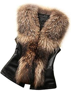 Sonnena - Chaleco para mujer de pelo sintético - Body cálido para el invierno negro marrón xxxl