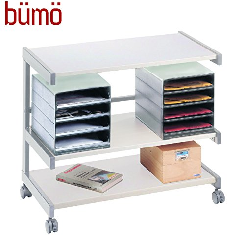 Bümö® Rollwagen | Bürowagen mit Ablageboxen | Ablageschrank auf Rollen | Rollschrank als Dokumentenablage (Grau/Grau)