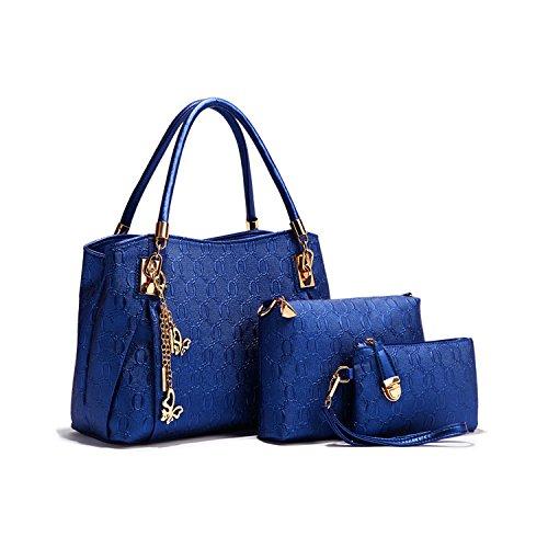 Set 3in 1donne da donna in pelle vintage borse Blau