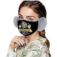 COKKISS UK 1 pieza 2021 Feliz Año Nuevo Adulto Cubrir Orejeras Antiescupir Anti Humo Protección contra la Contaminación Bandanas Reutilizables Lavables a prueba de polvo