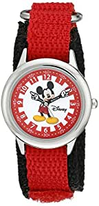 Disney By Ewatchfactory Kids Mickey Mouse Quartz Watch with White Dial Time Teacher Display and Red Nylon Strap W000241