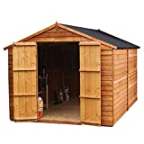 WALTONS EST. 1878 10x6 Wooden Garden Storage Shed, Overlap Construction Dip Treated with 10 Year Guarantee, Windowless, Double Door, Apex Roof, Roof Felt & Floor Included, (10 x 6 / 10Ft x 6Ft) 3-5 Day Delivery