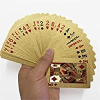 AIMERKUP 24K Gold Foil Playing Cards, Waterproof Gold Plated Poker for Home Family Table Game Magic (54 Cards)