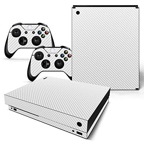 Preisvergleich Produktbild Deylaying Weiß Carbon Faser Körper Wrap Schutzhüllen Aufkleber Skin Abziehbild für Microsoft Xbox One X Konsole and Controllers (2017 Veröffentlicht)