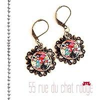 12mm Cabochon Ohrringe, japanisches Motiv, Japan Blumenkunst, Blumen, Seigahia, multicolor