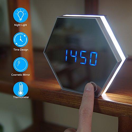 Sundylive led sveglia a specchio,digitale portatile moderno specchio sveglia specchio orologio da tavolo silenzioso sveglia elettronica multifunzionale sveglia digitale da comodino funzione snooze dimmerabile orario e temperatura display a specchio orologio da scrivania per casa e ufficio