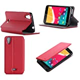 Etui Wiko Rainbow Jam 4G rouge luxe Ultra Slim Cuir Style avec stand - Housse Folio...
