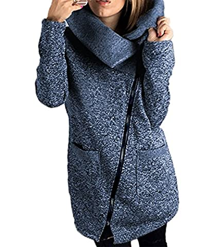 LANOMI Womens Casual Jacket Coat unique Long Zipper Autumn Winter Sweatshirt Outwear with Pockets 6 8 10 12 14 16 18 20 (Size L/ UK 16-18, Blue Coats)